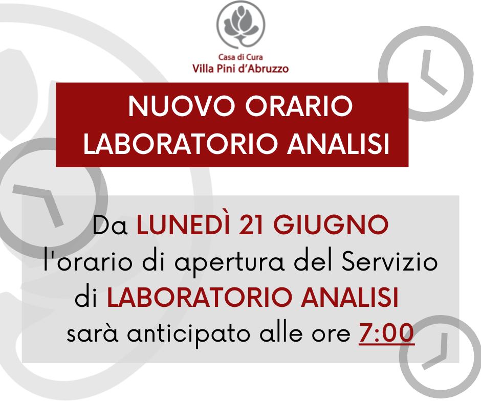 Per gli esami di Laboratorio Analisi non è necessaria alcuna prenotazione è previsto l'accesso diretto dal lunedì al sabato dalle ore 730 alle ore 1000. (1)